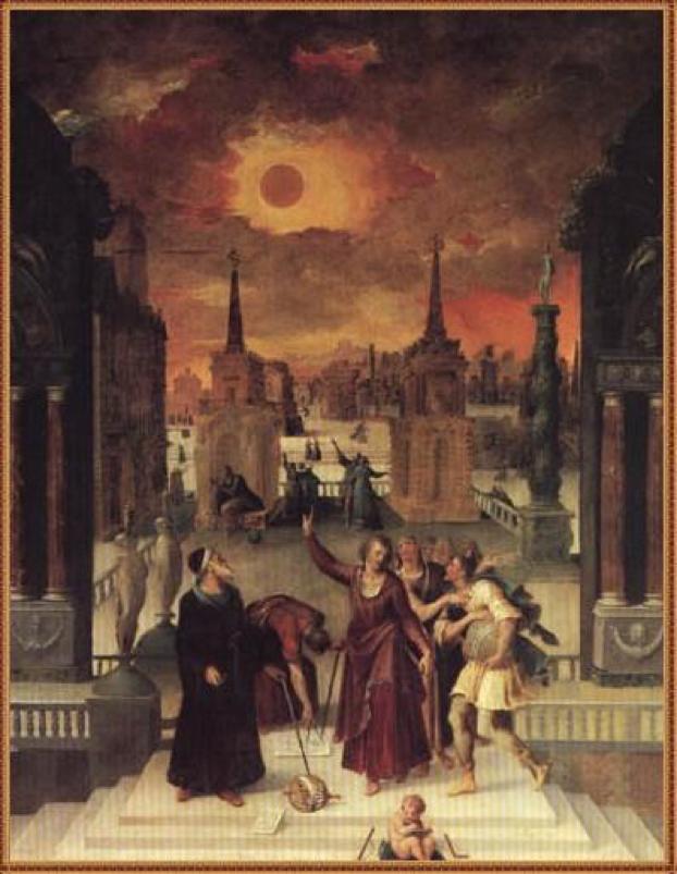 Imagen 1. Antoine Caron, Astrónomos estudiando un eclipse (1571)