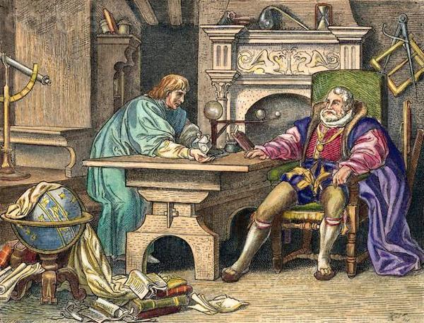 Imagen 8. En 1601 Kepler fue nombrado astrónomo imperial. En este gravado aparece junto a Rodolfo II